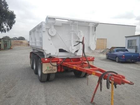 "SIDE TIPPING TAG TRAILER  ""FOR HIRE"""
